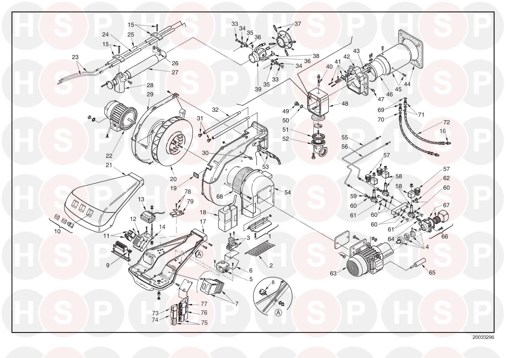 Riello Rls 70 20032836  Type 687 T1   Exploded View